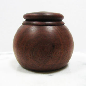 Natural Walnut Lidded Wood Box - Trinket Box - Keepsake Box - Hand Turned Wood Box
