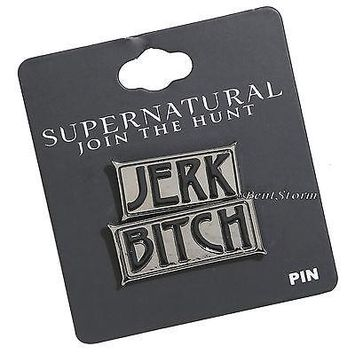 Licensed cool Supernatural Bitch Jerk Sam Dean Winchester Enamel Lapel Pin 2 set Join the Hunt
