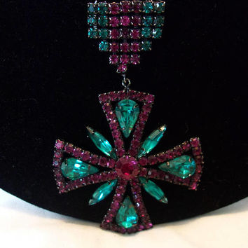 Maltese Cross Badge Aquamarine & Purple Vintage Designer Japanned Black Brooch Pin