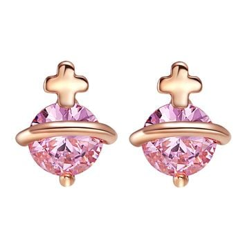 Tiny Stud Style Magic Circle Holy Cross Lucky Charms Gold-Tone Sweet Pink Crystals Earrings