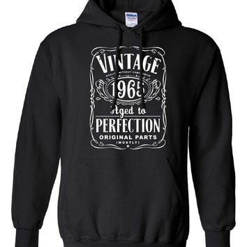50th Birthday Gift For Men and Women - Vintage 1965 Aged To Perfection Mostly Original Parts Hoodie Hooded Sweatshirt Gift idea S-48