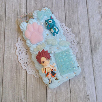 SALE / Ready to ship : Fairy tail, Natsu and happy decoden phone case for Iphone 6/6s
