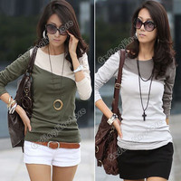 New Women's Splice Casual Cotton Long Sleeve Crew Neck Tops T-Shirt Size S #689