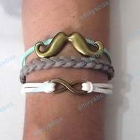beard bracelet, infinity bracelet, beard charm and infinity charm, men's women's leather bracelets, braided bracelets