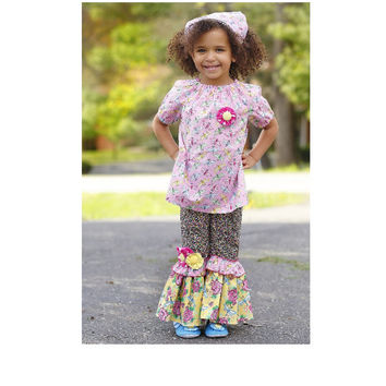 Ruffle Pants and Peasant Top Outfit, Girls Boutique Birthday Outfit, Girls Clothing, Size 2T 3T 4T 5 6 7 8, Little Girls Outfit