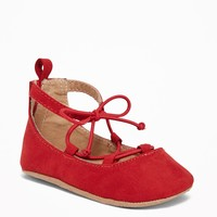 Sueded Lace-Up Ballet Flats for Baby | Old Navy