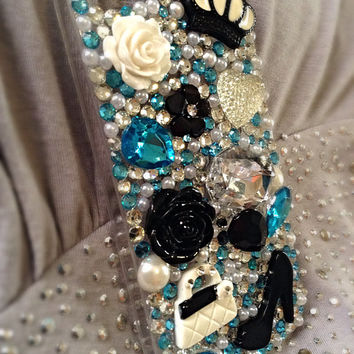 iPhone 5/5s crystal aqua and black phone case, bling case, girly iphone case, gift idea for women  LAST ONE!