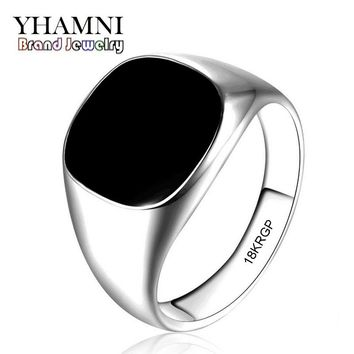2017 Latest Fashion Never Fade 316l Stainless Steel Ring Gold Filled Natural Black Onyx Stone CZ Engagement Wedding Ring BKJZ016