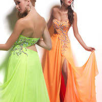 Neon Orange Embellished Chiffon Sweetheart Cut Out Prom Dress - Unique Vintage - Cocktail, Pinup, Holiday & Prom Dresses.