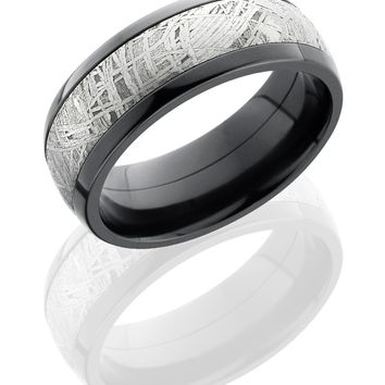 Zirconium 8mm Hand Crafted Domed Wedding Ring with 5mm Meteorite