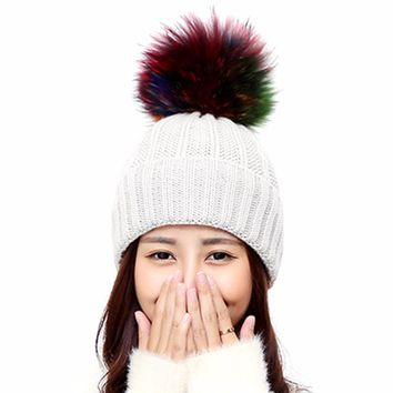 Fashion Winter Hats For Women Faux Fur Pompom Ball Knitted Beanies Cap Women Warm Crochet Pom Pom Hat 9 Color bonnet femme