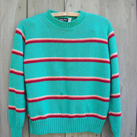 Vintage sweater - mint green striped cotton pullover