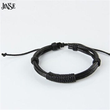 JINSE  Men and Women Hand Woven Dermal Punk Bracelet Simple Couple Jewelry PSL087