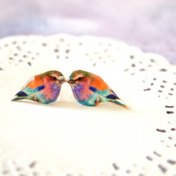colorful bird earrings , nature studs , nature jewelry , colorful bird jewelry , bird lover gift , earrings for teen , earrings for tween