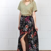 Double Slit Front Floral Maxi Skirt {Black}