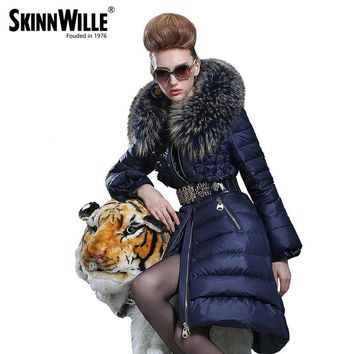 medium-long down coat female fashion high quality luxury large fur collar thickening