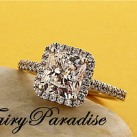 2 Ct (7mm * 8mm) Radiant Cut lab made Diamond Halo Set Pave band Engagement Wedding Promise Ring - made to order ( FairyParadise )