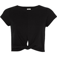 Black twist front jersey cropped T-shirt - crop tops / bralets - tops - women