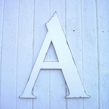 """Wooden White Letter """"A"""" 24"""" Shabby chic initial Kids Wall Art Rustic Cabin decor"""