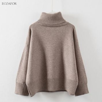 Thick High Neck Sweater Women Winter Solid Warm Pullovers Side Vent Slit Loose Jumper Female Oversize Turtleneck Sweater