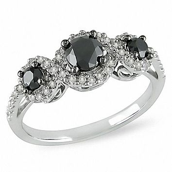 1 CT. T.W. Enhanced Black and White Diamond Three Stone Frame Engagement Ring in 14K White Gold