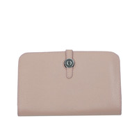 Foldover Leather Wallet: Blush Pink