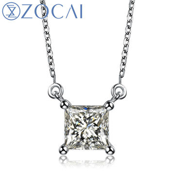 Princess Cut Real 1.1 CT Certified Diamond 18K White Gold Necklace