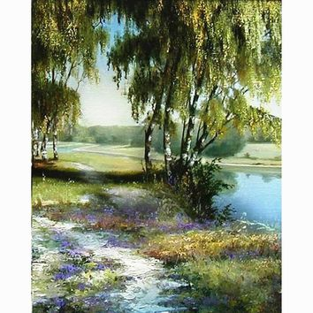 Home Beauty painting calligraphy landscape river trees oil pictures on canvas coloring by number drawing craft wall art JY094