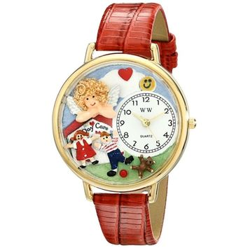 SheilaShrubs.com: Unisex Day Care Teacher Red Leather Watch G-0630015 by Whimsical Watches: Watches