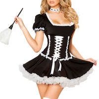 Black French Puffed Sleeve with Square Neckline Lace Ruffled Costume