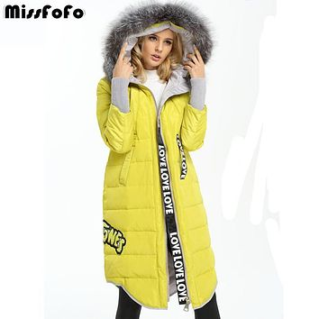 MissFoFo 2016 New Down Coat Fashion Jacket Solid Color Real Fur Long straight female XXS XS hood fur collar down coat outerwear