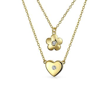 Heart Flower Pendant Necklace CZ 14K Gold Plated Sterling Silver 16-1