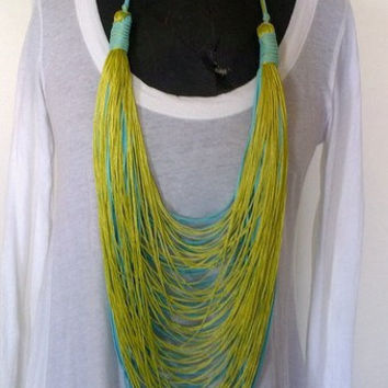 summer trend necklace-turquoise and lime- suede and yarn-statement
