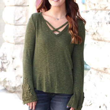 Front Criss Cross Strappy Knit Sweater {Olive}
