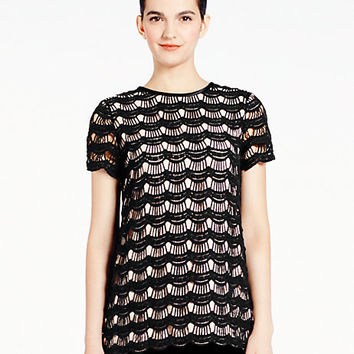 Kate Spade Shanghai Scallop Lace Top Black