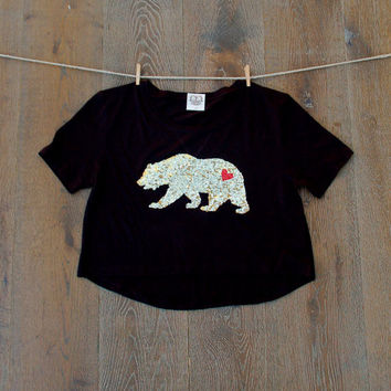 Cropped California Bear T Shirt - Sequin Patch California Republic Boho Festival Style Tee