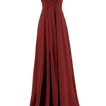 Ouman Sweetheart Bridesmaid Chiffon Prom Dress Long Evening Gown Burgundy S