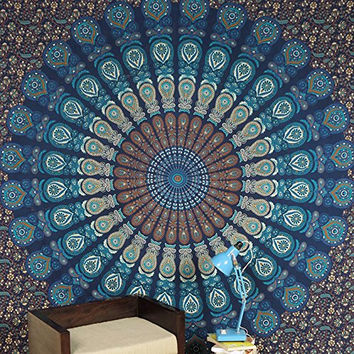 Mandala Tapestry Blue Peacock Tapestries Wall Hanging Queen Double Bed Sheet Bedding Throw