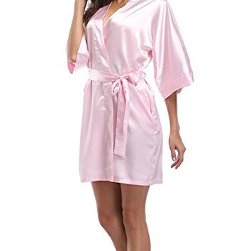 Luvrobes Women's Satin Kimono Robe, Solid Color, Short