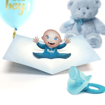 Baby Boy Card / Baby Boy Invite / Baby Boy Shower / Baby Boy Birthday / Baby Boy Pop Up / Birthday Pop Up Card / Popup Card / Baby / Invite