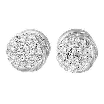 Clear Stellux Austrian Crystal Round Halo Stud Earrings in Silver Plated