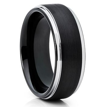 8mm - Black Tungsten Ring - Men's Wedding Band - Handmade - Black Ring