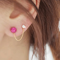 Cute Bunny Two Hole Tassel Asymmetric Earrings Set (Pink)