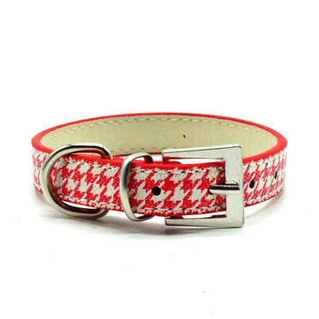 Classic Houndstooth Dog Collar (Red)