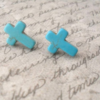 turquoise cross studs // turquoise stone cross post earrings surgical steel hypo allergenic