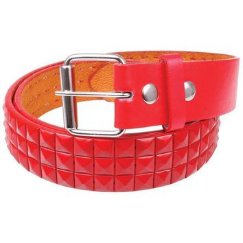PEAPGQ9 Red Studded Leather Belt