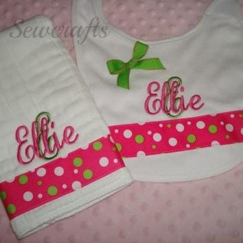 Ellie Personalized Burp Cloth and Bib - Choice of Name and/or up to 3 monograms