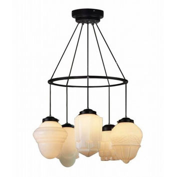 5 light vintage art decorative cream chandelier pendant lamp light
