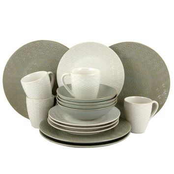 Elama Olive Terrace Ivory/Green Stoneware Service for 4 Textured Dinnerware Set (Case of 16) | Overstock.com Shopping - The Best Deals on Casual Dinnerware