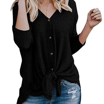 Chvity Womens Waffle Knit Tunic Blouse Tie Knot Henley Tops Loose Fitting Bat